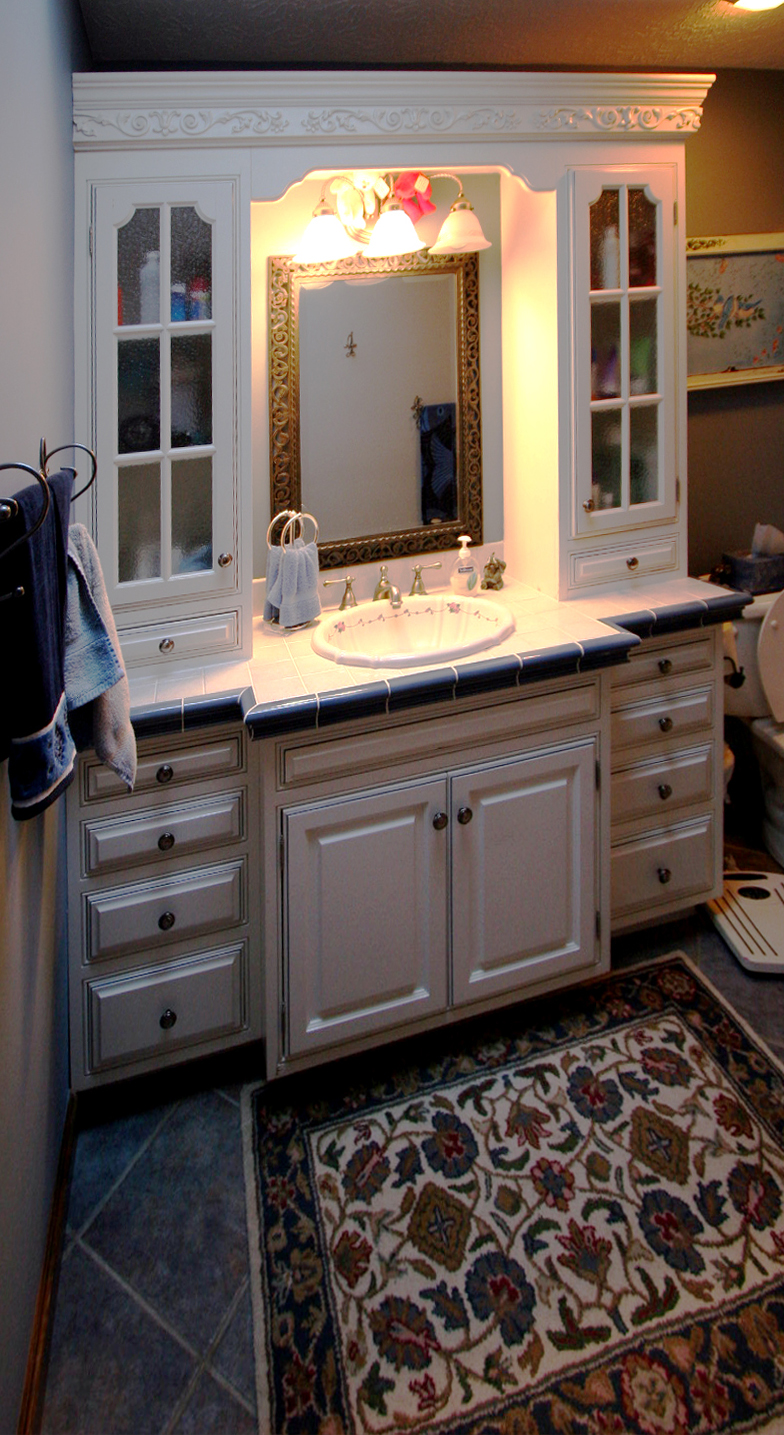 Bathroom Vanity Tile Top Upper Cabinet Storage Special Molding Creative Cabinetry Inc